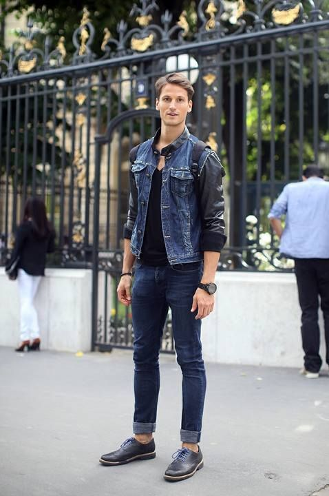 Men's Navy Denim Jacket, Black V-neck T-shirt, Navy Skinny Jeans ...