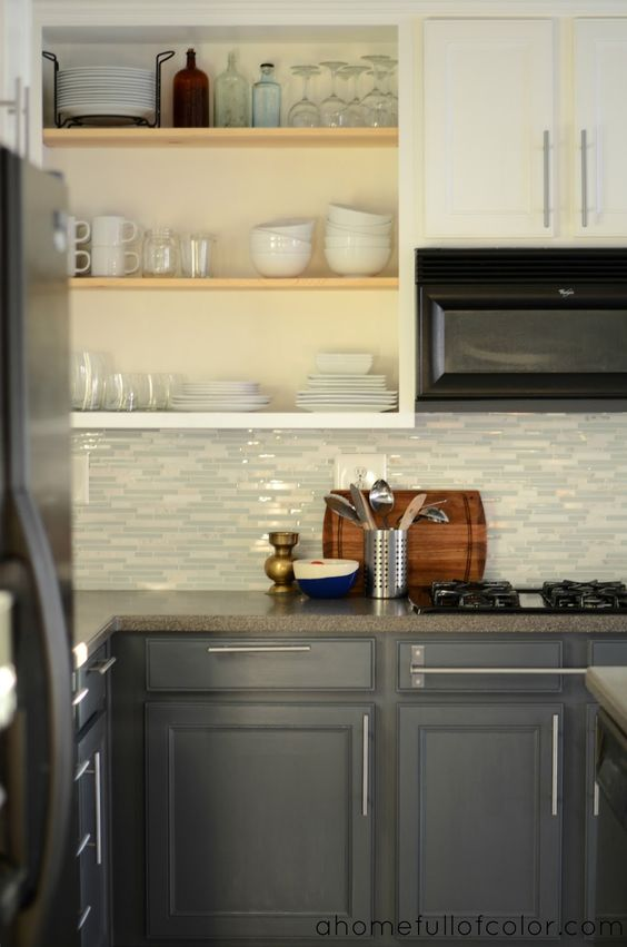 Kitchen Of The Week A Diy Ikea Country Kitchen For Two: Upper Cabinets, Open Shelving And Mosaic Tiles On Pinterest