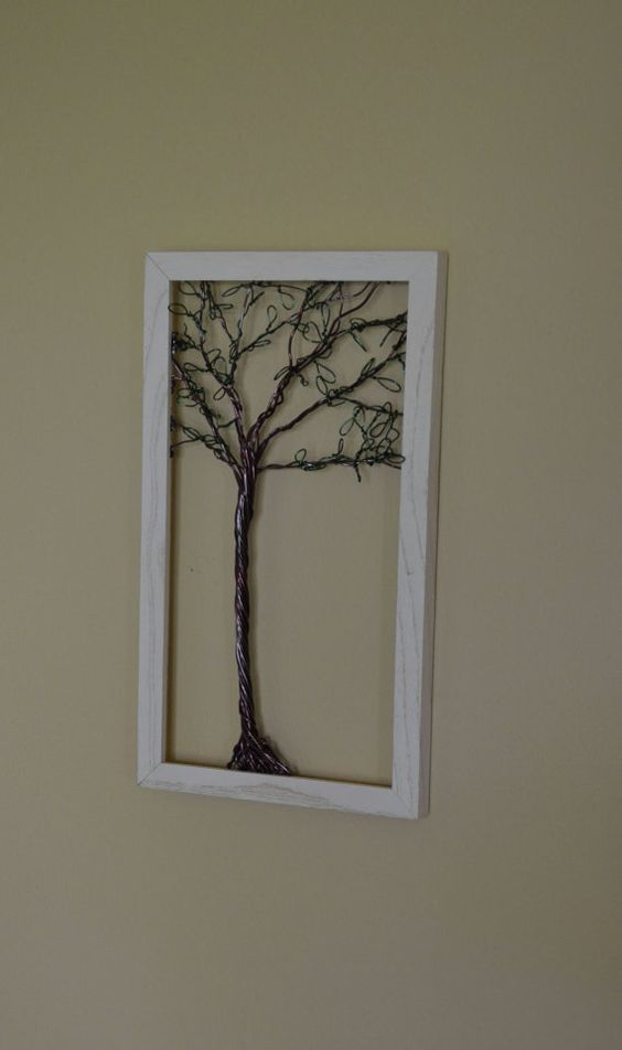 Framed Wall Art Jewelry Holder Wire Tree with by CreativeArtbyME, $44.00