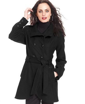 GUESS? Double-Breasted Wool-Blend Funnel-Neck Coat | Best of