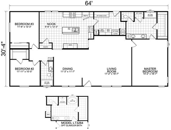 Home 32x64 2 bed 2 bath 1900 sq ft dwellings for 1900 sq ft
