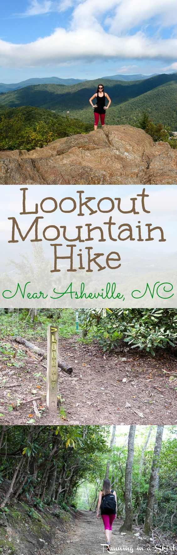 Lookout Mountain hike in Montreat near Asheville, North Carolina!  Stunning early fall views of the NC Mountains near the Blue Ridge Parkway in this beautiful adventure.  Fun tips to make this hike part of your next road trips! Includes directions and pictures of the trail!  See stunning views in a steep, but short climb. Bold Percent - AD/ Running in a Skirt
