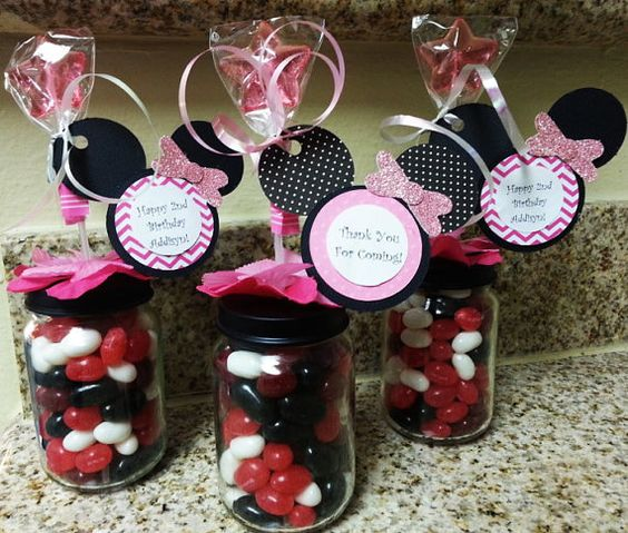 Minnie Mouse Baby Shower Party Favors: Minnie Mouse Baby Food Jar Party Favors