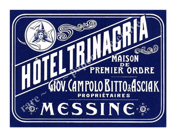 Sicily Italy Hotel Luggage Label Sticker  by RarePaperDetective