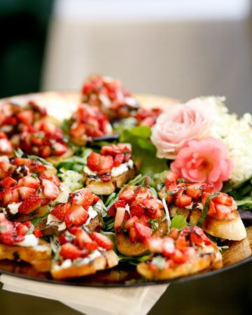vibrant and delicious strawberry and goat cheese bruschetta. Yum.