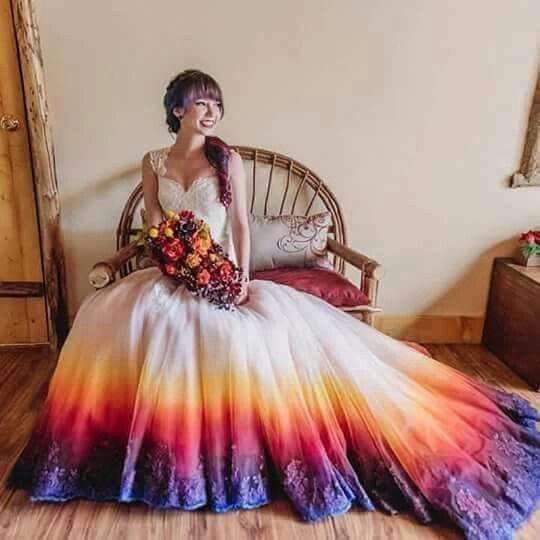 ☮ American Hippie Bohéme Boho Style ☮ Tie Die Wedding Dress
