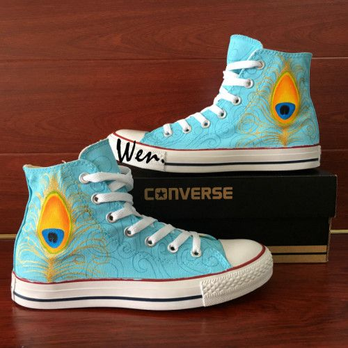 Hand Painted Converse All Star Peacock
