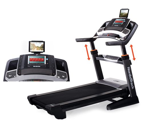 """NordicTrack C 2950 Treadmills 4.25 CHP $2,889.00 motor, lifetime guarantee -3% to 15% incline 0-12 mph speed On/Off Cushioning on Flex Deck 10"""" screen web-enabled, use google maps and subsrcibe to iFit iPod compatible for music Difference from 2450 - adjustable uprights (an extra $500 - don't need, would only get if this went on sale for a price better than or similar to the 2450)"""