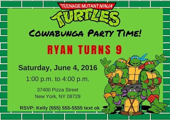 Ninja Turtle Invitation Template Lovely Free Tmnt Invitation Template Teenage Mu Turtle Birthday Invitations Ninja Turtle Birthday Ninja Turtles Birthday Party