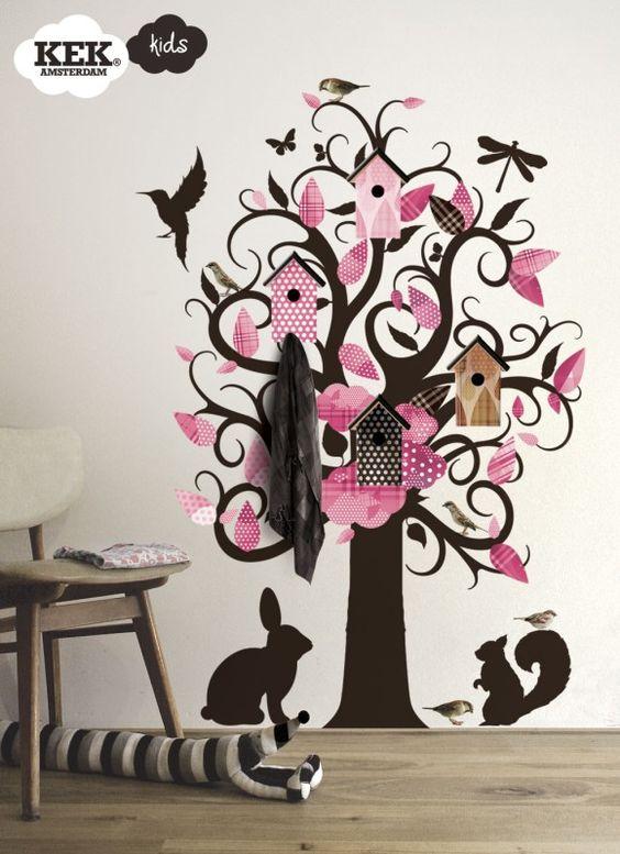Muursticker boom kinderkamer vogelhuisje roze kek muurstickers lief meiden kamer for Kinderkamer deco