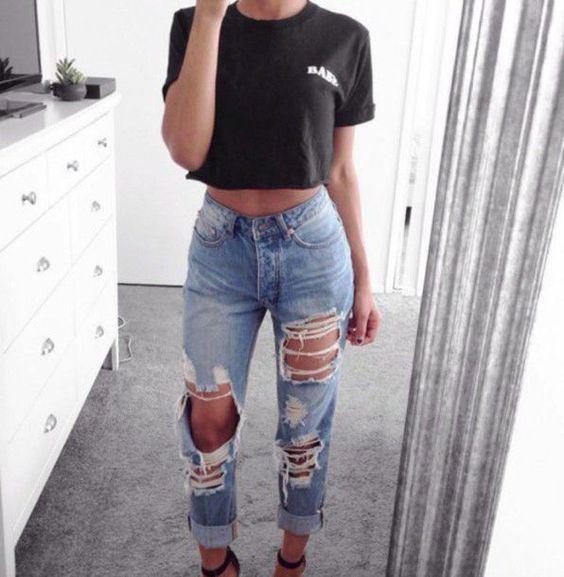 Look maravilhoso e espojado calça jeans destroyed