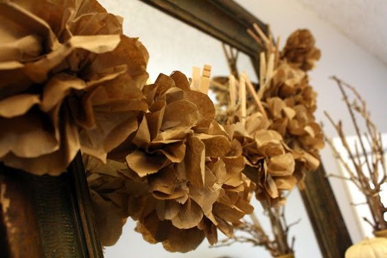 52 Mantels: Lunch Bags Into Paper Flowers