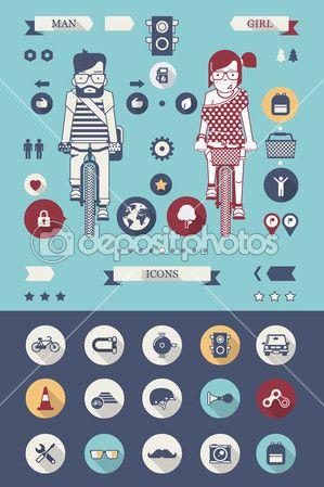 ícones de bicicleta — Ilustração Stock #35453413