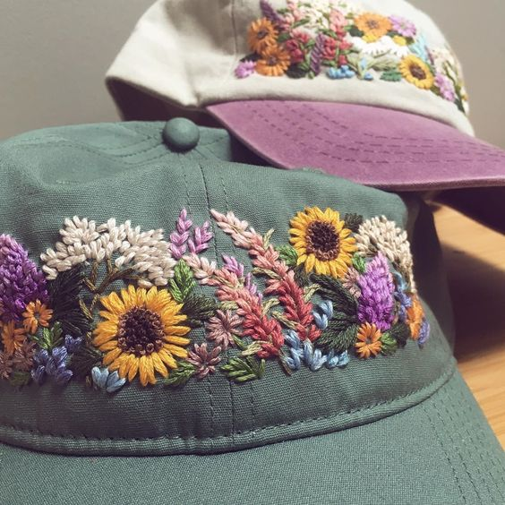 These Two Custom Hats Are Headed To A Pair Of Flower Farmers In Atlanta If You Re Looking To Order Hat Embroidery Embroidery On Clothes Embroidery Caps