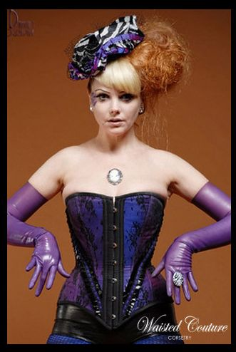 like the lace overlay on the two tone purple and the pvc pleated trim