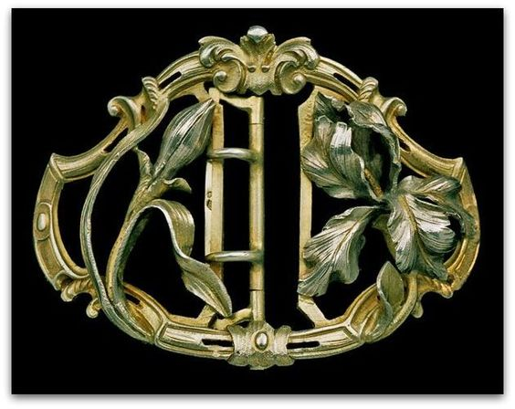 YTASSE ET FOURNERET.  Art Nouveau Iris Buckle Silver, Partly Gilt. French, c.1895.