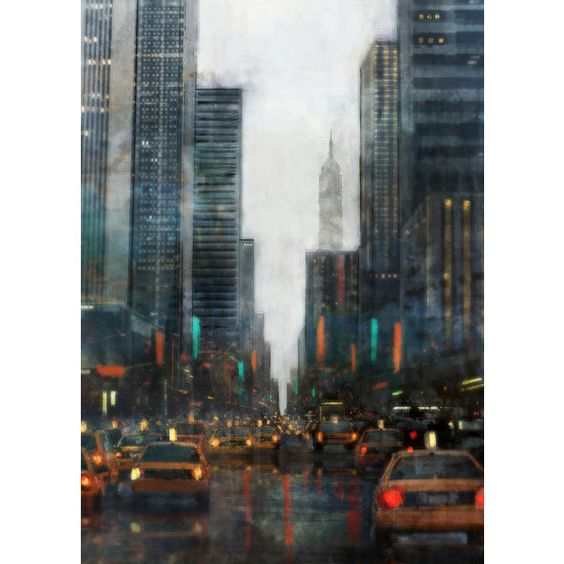 Rainy NYC 02 Giclee Fine Art Print 13X19 ($45) ❤ liked on Polyvore featuring home, home decor, wall art, matte painting, new york city wall art, nyc home decor, new york city painting and new york city home decor