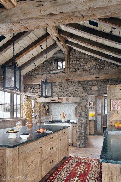 Top 60 Best Log Cabin Interior Design Ideas - Mountain ... Nateral Mountain Cabin Kitchen Ideas on