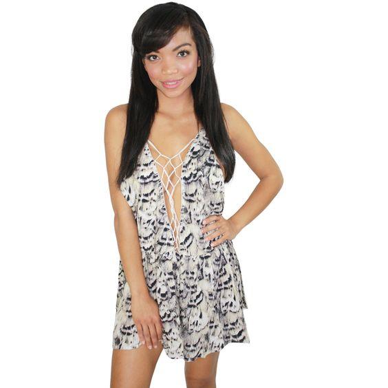 Sachi Macrame Mini Dress in Natural Feathers (FINAL SALE)