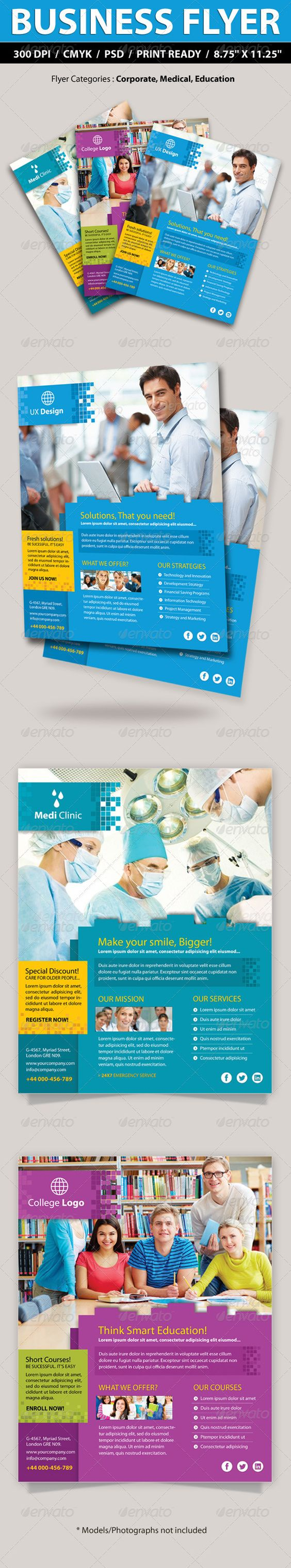 """Corporate, College, Medical Business Promotion Fly #GraphicRiver Corporate, College, Medical Business Promotion Flyer —-—-—- Specifications: 1) Dimensions: Size 8.5""""x11"""" (8.75×11.25 with bleeds) 2) Resolution: 300 dpi CMYK / ready for print 3) Editable fonts/text 4) Layered and Organized in Folders 5) Quick Photo Replacement using Smart Objects 6) Help file included 7) 3 Color Options included suitable for multiple categories i.e. Medical, Education, Corporate —-—-—— Free Fonts used: Myriad…"""