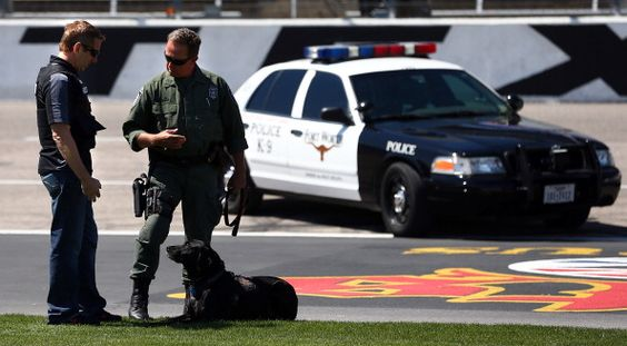Dog lover, Greg Biffle spends some time working with the local Tactical Narcotics Team.