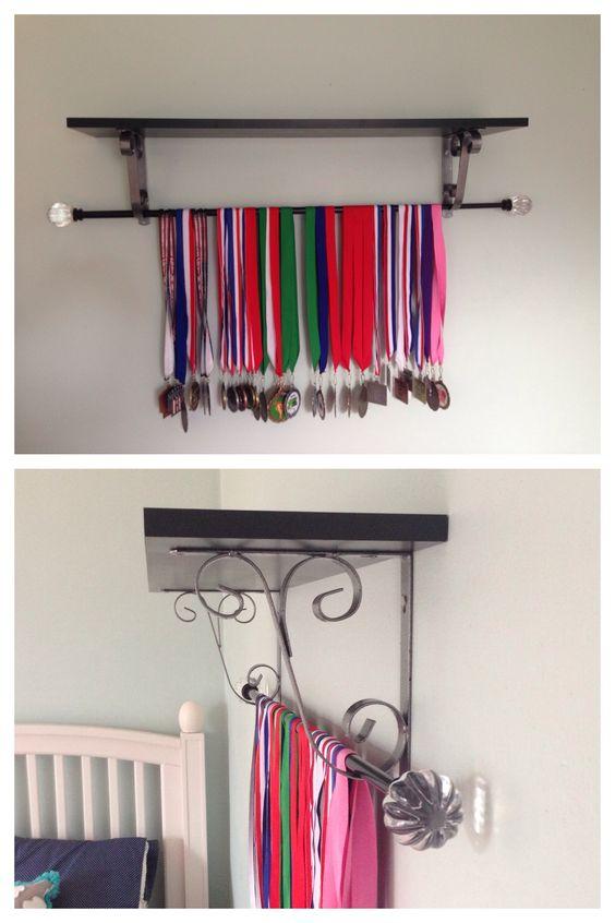 DIY medals display. Display gymnastics medals using a shelf and ...