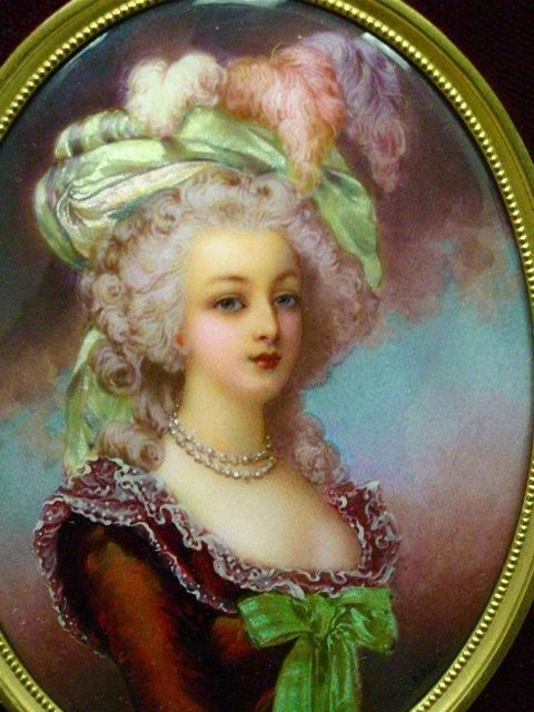 """ A painting of Marie Antoinette done on enamel, signed by T. Leroy. """