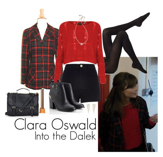 Clara Oswald - Into the Dalek by ansleyclaire on Polyvore featuring Topshop, Pendleton, Wolford, River Island, Lipsy, Shashi and ClaraOswald