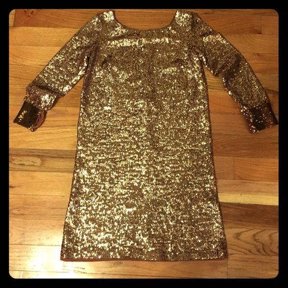 Vintage cocktail party sequin dress beaded large Gold vintage dress, I purchased this as a large so a size 10-12.  It's beautiful.  Pictures do not do this dress justice! Super cute! Great for any special event! Dresses Midi