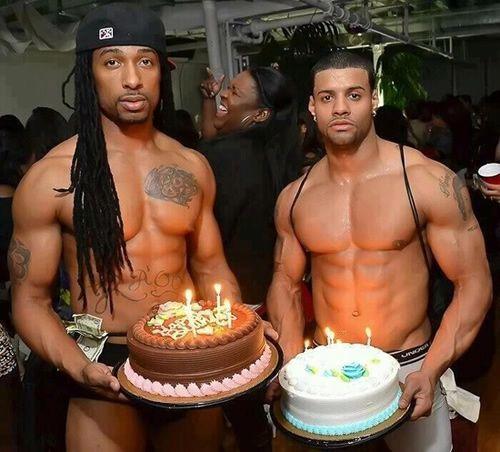 Sexy man with birthday cake idea and