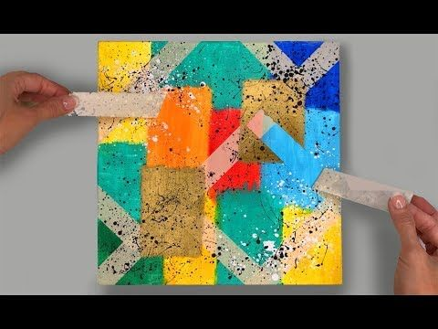 Abstract Painting Using Masking Tape Simple And Easy Youtube Abstract Painting Acrylic Abstract Painting Easy Abstract Art Diy