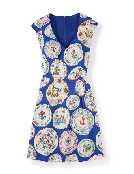 Boden Blue Plate Printed Spring Dress  Novelty Print Dresses ...
