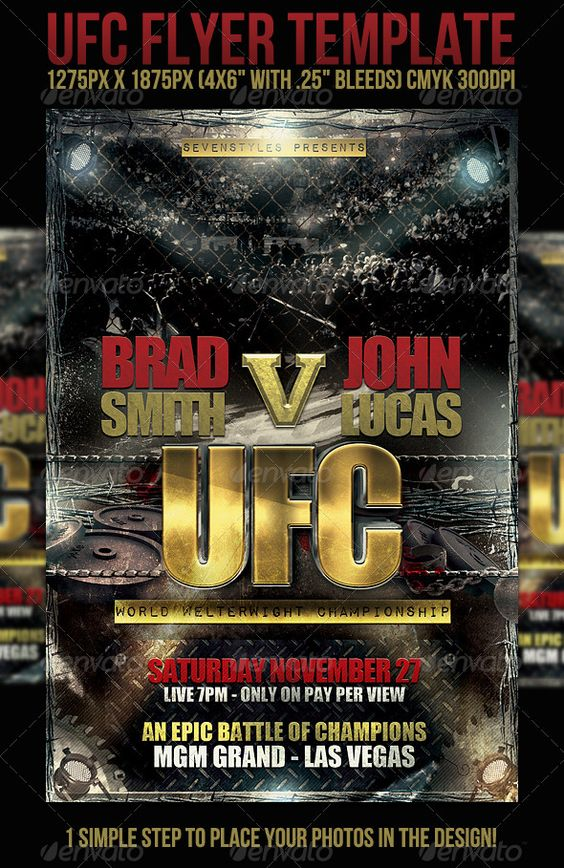 UFC Flyer Template  - PSD Template • Only available here ➝ http://graphicriver.net/item/ufc-flyer-template/442921?ref=pxcr