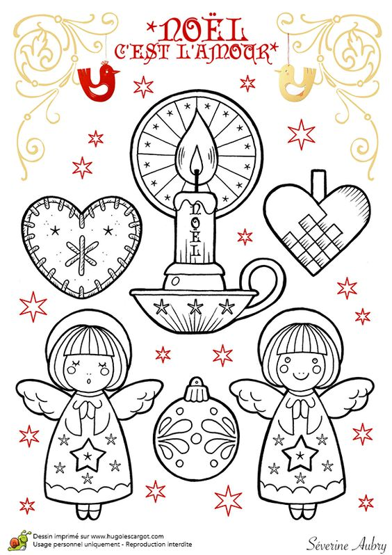 Dessin colorier de d corations de no l petits anges et for Decoration de noel dessin