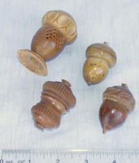 Victorian Vegetable Ivory Acorn Shaped Thimble Holders