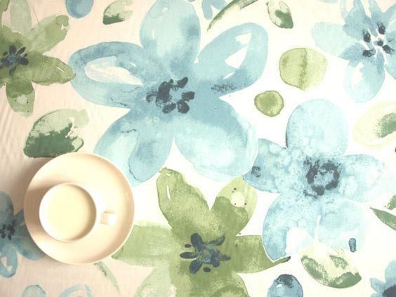 Tablecloth white sky blue moss green flowers fuzzy by Dreamzzzzz, $25 ...