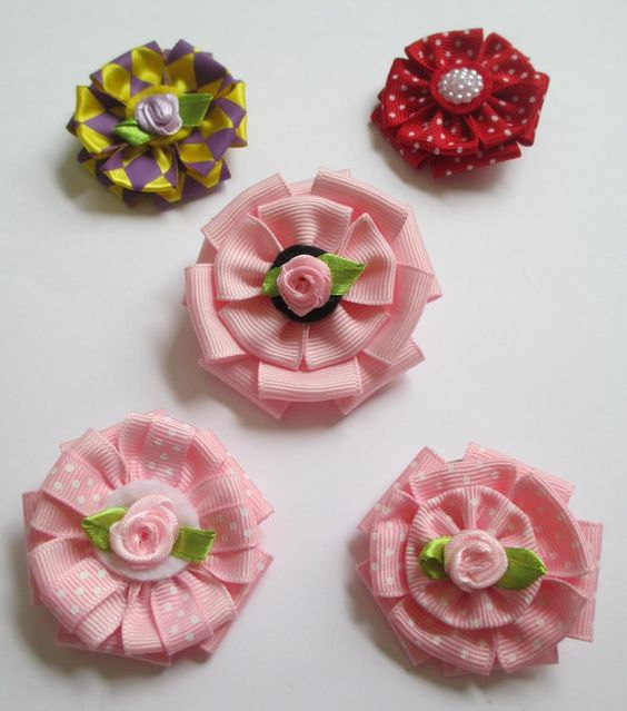 DIY Layered Ribbon Flower Hair Clips