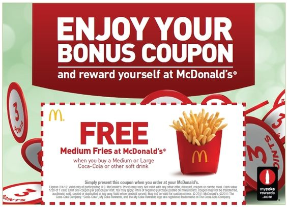 Example of McDonalds coupon advertising Grabs the attention of - example of a coupon