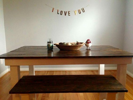 Built this farmhouse table. French's design or find me on Facebook at French's Salvage!