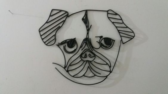"""Escultura de arame/parede """"Pug"""""""
