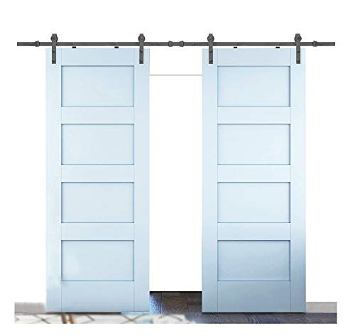 12 Ft Heavy Duty Sliding Barn Door Hardware For Wide Opening And Two Openings 12ft Single Door In 2020 Double Sliding Barn Doors Barn Doors Sliding Garage Door Design
