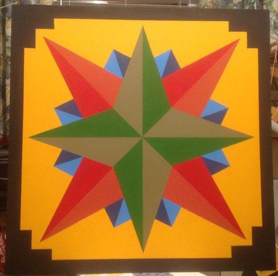 Mariner's Compass Green Center Barn Quilt 36 x by WoodBarnQuilts