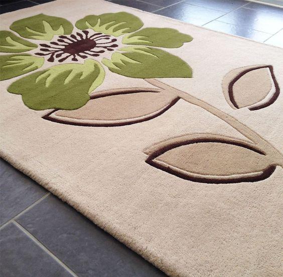 Floral Art Elite Beige Green Rug - Modern Style Rugs