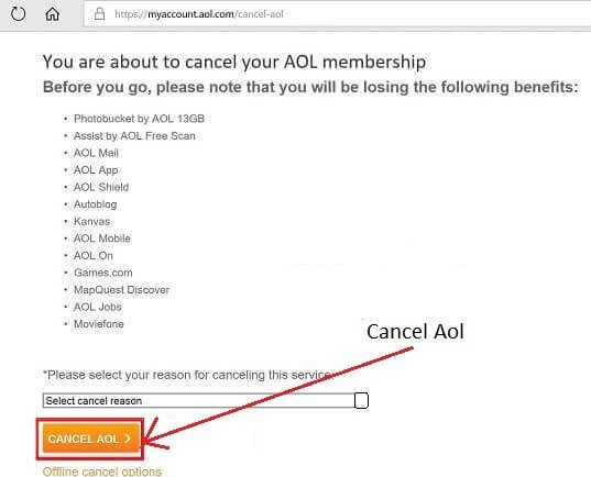 Delete My AOL Mail Account- select Cancel AOL