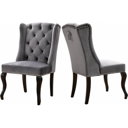 Grey Velvet Wing Back Tufted Dining Chair Set Of 2 Tufted