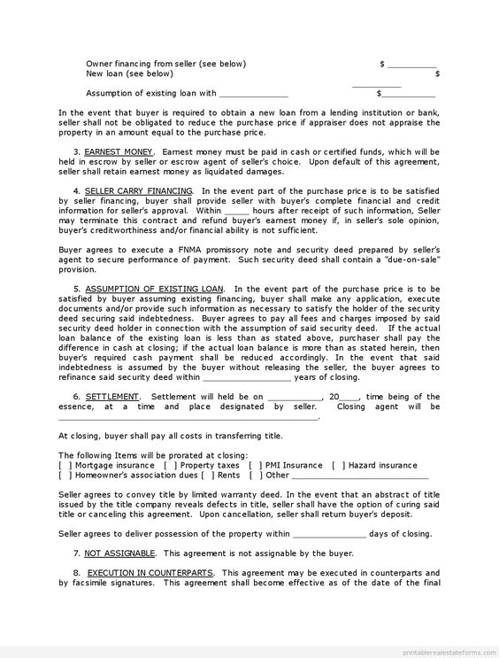 Printable Sample contract for deed Form Sample PDF Forms - sample purchase and sale agreement 2