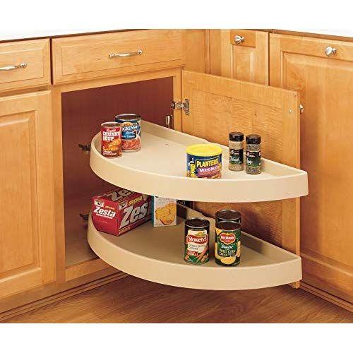 Rev A Shelf 33 In Polymer Half Moon Susans 2 Tier Almond Rev A Shelf Cabinets Organization Blind Corner Cabinet