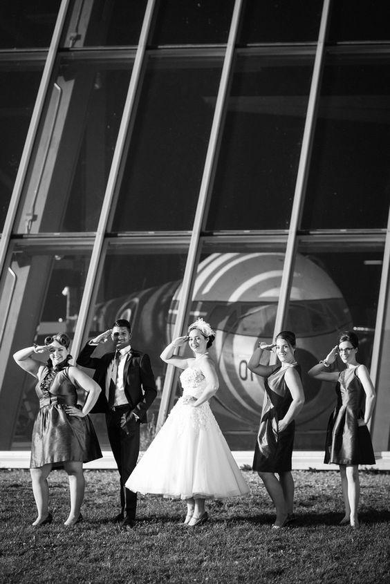 aviation themed bridal party
