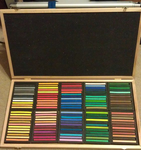 Jack Richeson Hard Pastels. I just got them from Utrecht.  They came in this wonderful wood box!