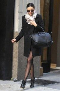 Miranda Kerr wearing Givenchy Double Breasted Wool Coat and Tabitha Simmons Leather Motorcycle Booties | UpscaleHype
